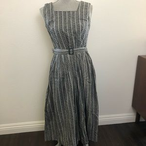 Vintage 1960s Black & White Apron Top Maxi Dress
